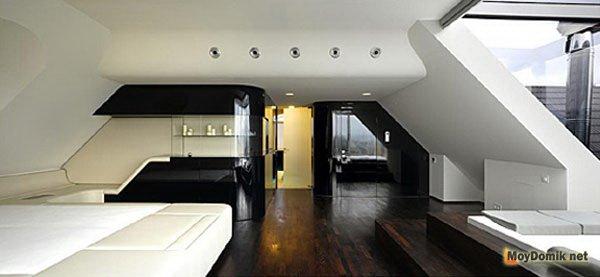 потолки, стены в стиле хай-тек