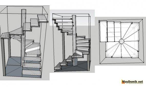 Многоугольная винтовая лестница – чертеж и схема