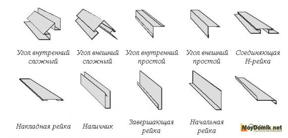 Доборные элементы для сайдинга металлического