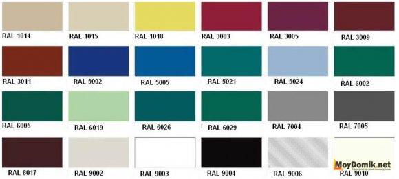 Стандартные цвета сайдинга