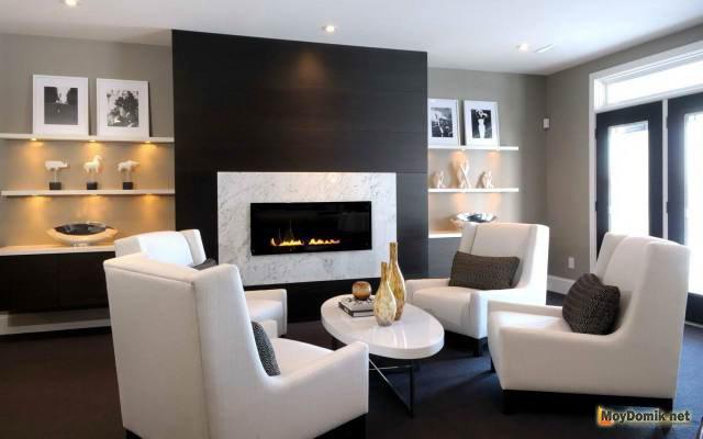Современный дизайн гостиной в частном доме фото 2