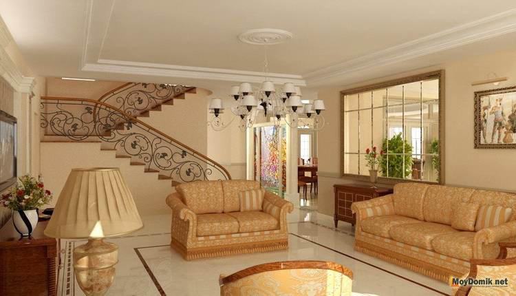 Лестница в интерьере гостиной