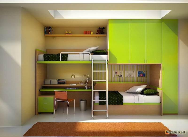 интерьер маленькой детской комнаты для мальчика и девочки в