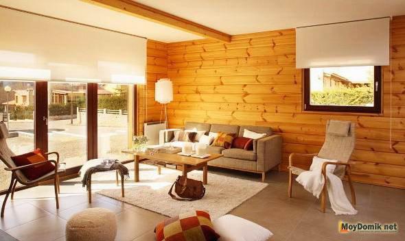 Skandinavski slog lesene hiše notranjosti