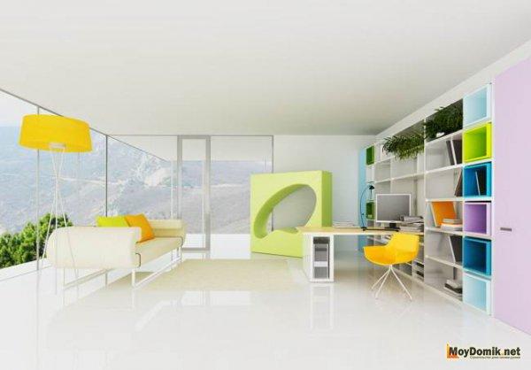 Интерьер молодежной комнаты в ярких цветах