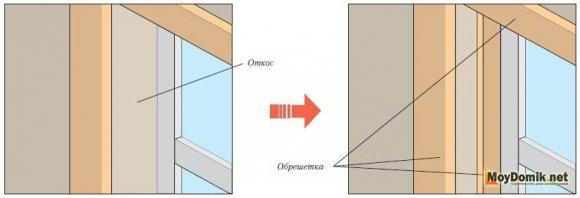 Монтаж панелей возле оконных и дверных проемов