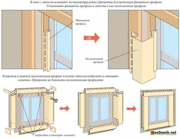 Монтаж сайдинга возле оконных и дверных проемов