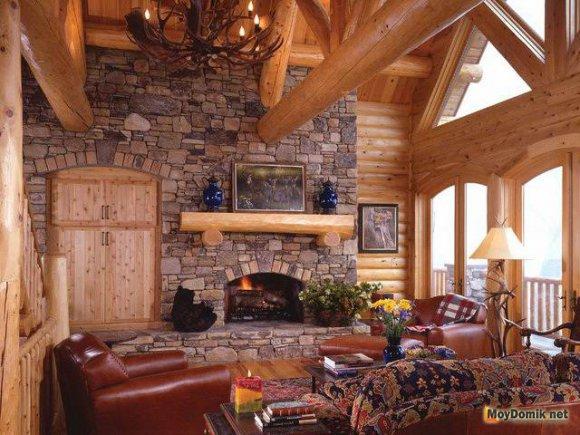 Интерьер внутри деревянного дома в холе