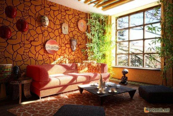 Африканский стиль в интерьере деревянного дома