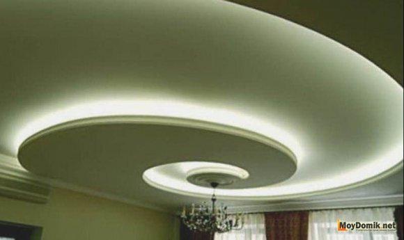 Оформление двухуровневого потолка из гипсокартона