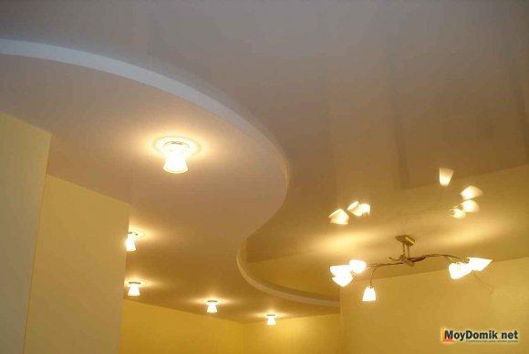 Пример двухуровневого потолка из гипсокартона