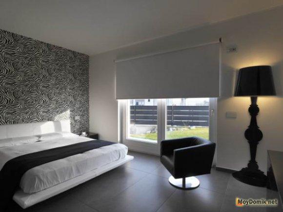 Бело-черный в интерьере спальни