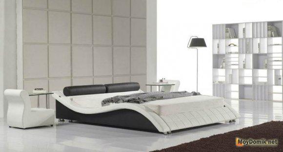 Бело-черный интерьер спальни