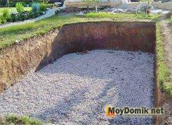Гравийно-песчаная подушка на дне бассейна