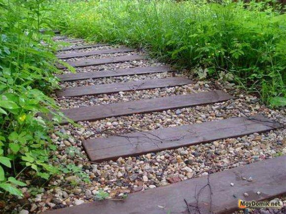 Как делать садовые дорожки из дерева своими руками