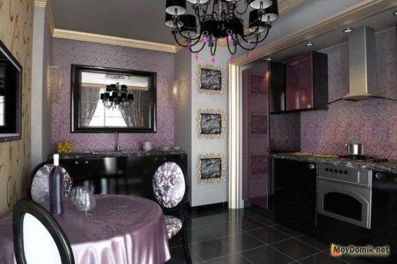 Темный потолок в сочетании с фиолетовым цветом