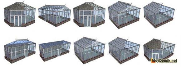 Схема - виды каркасов зимнего сада
