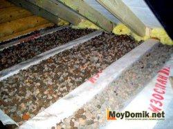 Утепление перекрытия чердака керамзитом
