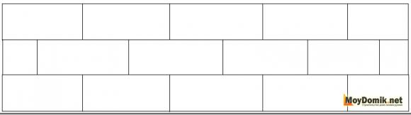 Схема крепления пенопласта со смещением