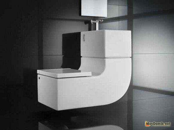Унитаз с замкнутой эко-системой в интерьере туалета