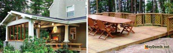 Расположение деревянной террасы - пристроенная и отдельностоящая