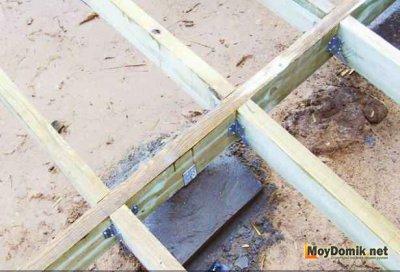Монтаж лаг на балки под террасу