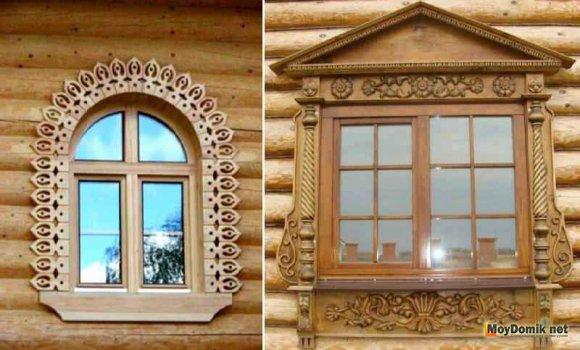 Пластиковые окна с деревянными резными наличниками