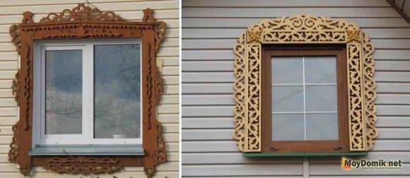 Пластиковые окна с деревянными наличниками