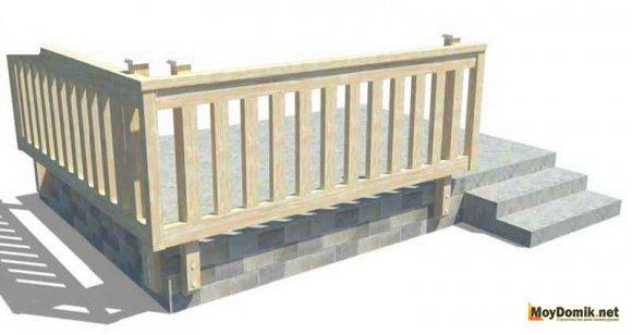 Вертикальное расположение перемычек, опор, балясин на террасе