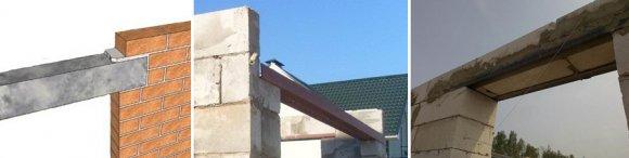 Монтаж деревянной, металлической или железобетонной перемычки
