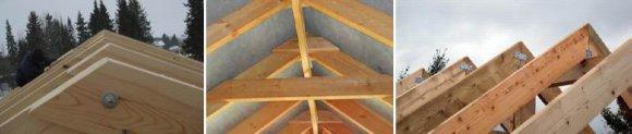 Установка конька крыши способом накладки на брус