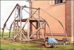 Соединение элементов конструкции каркаса зимнего сада
