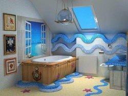 Мозаика в морском стиле интерьера