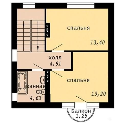 Проект дачного дома с мансардой - мансардный этаж