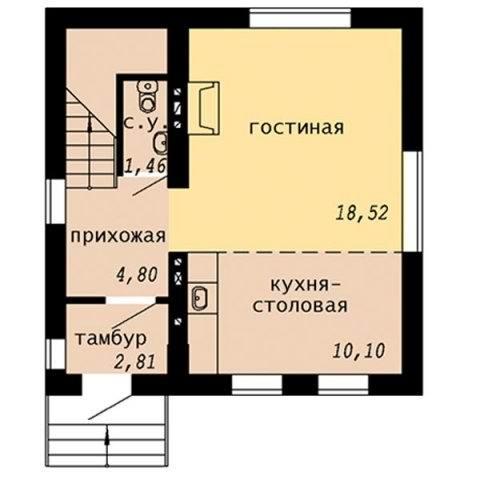 Проект дачного дома с мансардой - первый этаж
