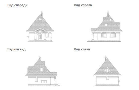 Проект дачного дома с мансардным этажом - общий вид