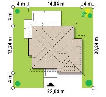 План земельного участка для дома с мансардой и гаражом