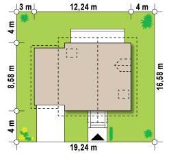 Проект дома с мансардой и гаражом - размер участка