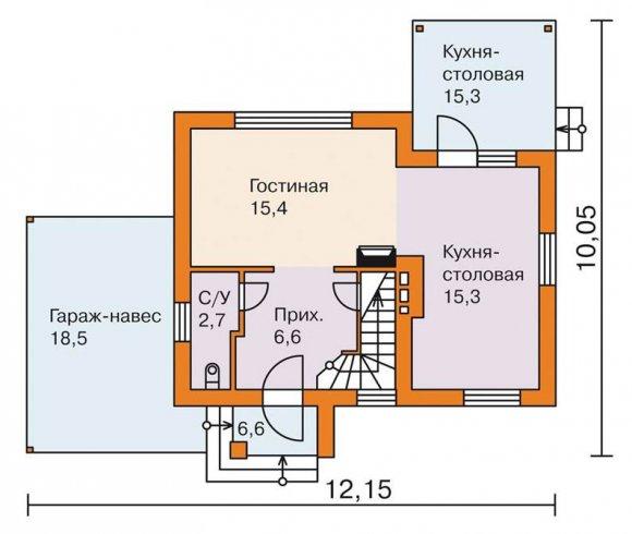 Проект дачного дома 90 кв.м. с мансардой - первый этаж