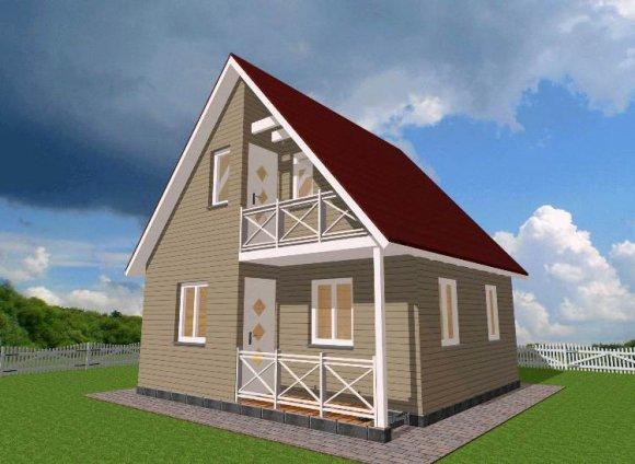 Проект дачного дома с мансардой - внешний вид
