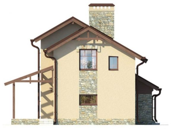 Проект дачного дома 90 кв.м. с мансардой - фасад 4