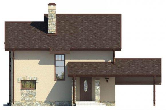 Проект дачного дома 90 кв.м. с мансардой - фасад 2