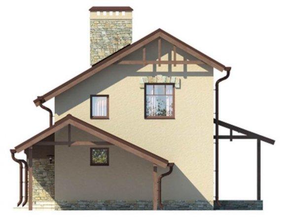 Проект дачного дома 90 кв.м. с мансардой - фасад 3