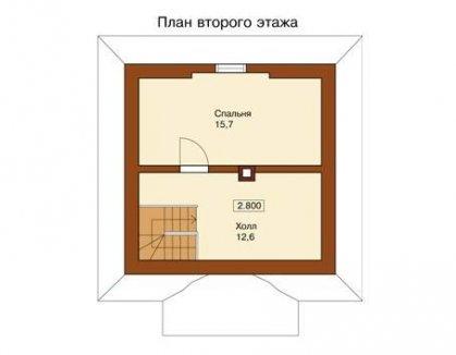 Проект дачного дома с мансардным этажом - второй этаж