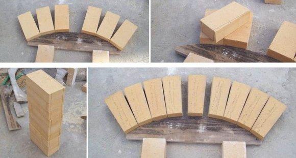 Разметка и подрезка кирпича для укладки лучковой перемычки