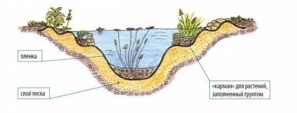 Схема устройства искусственного пруда