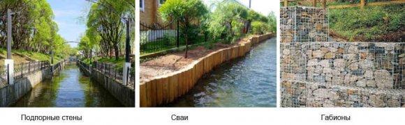 Способы укрепления берега пруда