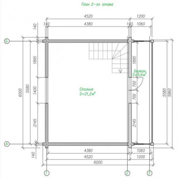 План дома из бруса с мансардой - 2