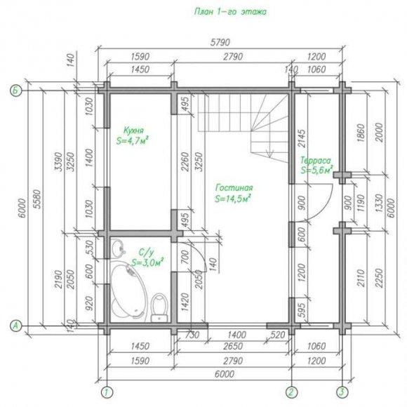 План дома из бруса с мансардой - 1