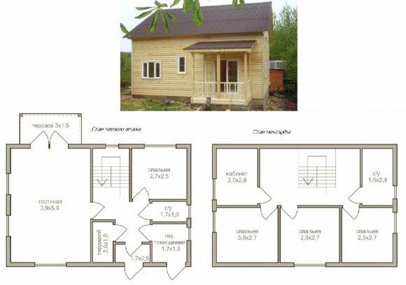 Проект деревянного дома с мансардой - 14